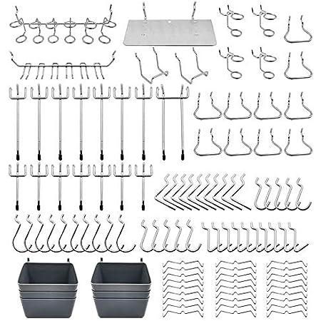 Cobeky Assortiment de 80 Crochets pour Panneaux Perfor/és avec Bacs /à Panneaux Perfor/és Verrous /à Chevilles pour Organiser Divers Outils pour la Cuisine