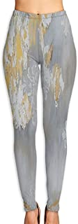 Cyloten Gold and Silver Leaf Yoga Pants Women's Stretch Leggings Breathable High Waist Trousers Sportswear