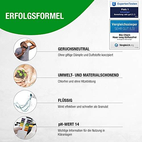 bio-chem® HAAR-WEG Abfluss-Frei | 1000 ml | Abflussreiniger | Rohrreiniger | Rohrreinigung | Rohrfrei | Abflussrohr | Geruchskiller | Entfernt und löst hartnäckigste, organische Verstopfungen - 7