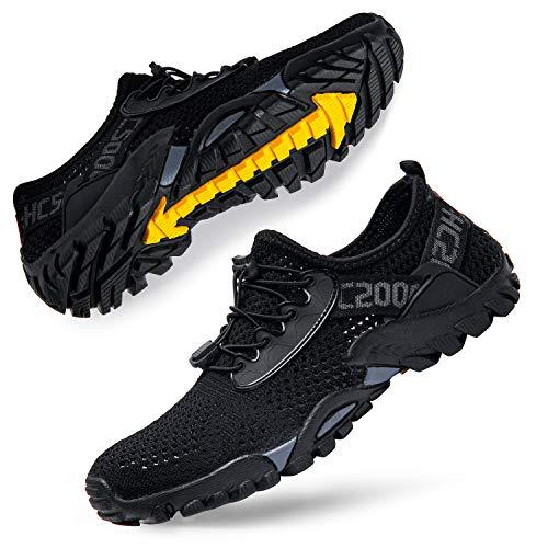 Men Water Shoes Quick Drying Women Water Hiking Swim Beach Shoes for Sailing Kayaking Surfing All Black
