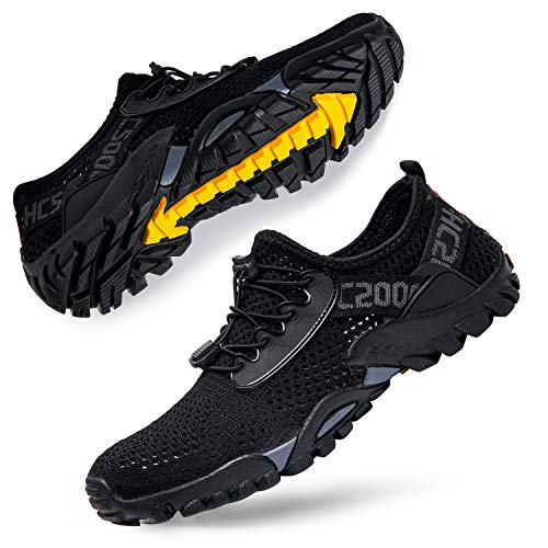 Women's Water Shoes Quick Dry Men's Water Hiking Beach Aqua Shoes for Boating Swim Surf All Black