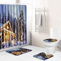 ラブリー・防水簡単にクリーンシャワーカーテンセット、バスルームクリスマスの飾り、スノーハウスペンギンスターのための12個のフック+バスマットトイレ蓋マットラグ付きバスカーテン house2-45*75cm