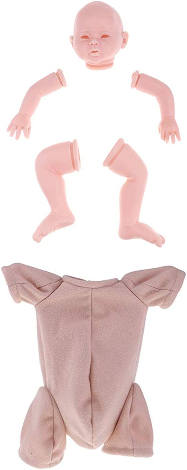 Prettyia Real Touch Soft Silicone 20inch Reborn Kit - Baby Doll Blank Limb Head Mold & Cloth Body DIY Making