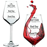 Buenos días, mal día, no preguntes. copa de vino, un regalo de bar novedoso para los...
