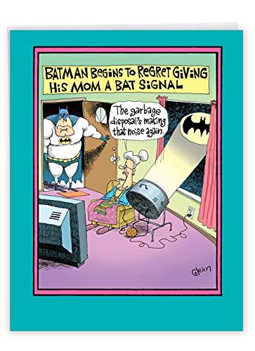 NobleWorks - Funny Mother's Day Greeting Card (8.5 x 11 Inch) - Jumbo Comic, Cartoon Humor for Mom - Superhero Regrets Bat Signal J0058