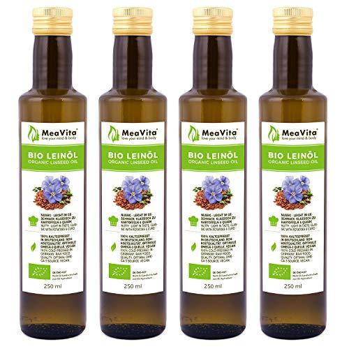 MeaVita Bio Leinöl, 100% rein & kaltgepresst, 4er Pack (4x 250ml) in Glasflasche