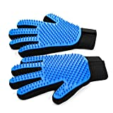 SVK Dream Pet Grooming Glove,Efficient Pet Hair Remover Glove with 259 Silicone Tips - Gentle De-shedding Brush Gloves for Cat & Dog with Long & Short Fur- Pet Massage Glove with Five-finger Design-1 Pair(Blue)