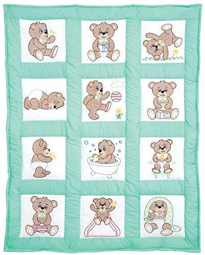 Jack Dempsey Mélange de Coton poinçonné Blanc Chambre d'enfant Les Blocs de Couette 22,9 cm X 9-inch-Teddy Bears