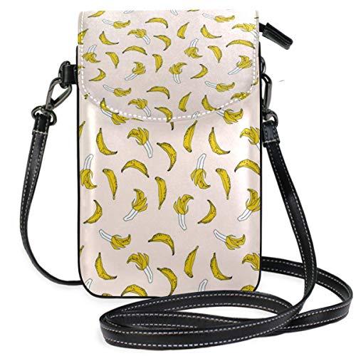 Handy Geldbörse Crossbody Bananenmuster Niedlich Minimal BA-NA-NAS Obst Zeichnung Handy Geldbörse Geldbörse für Frauen Mädchen Kleine Crossbody Geldbörsen Taschen