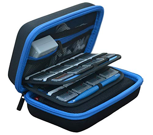New 3DS XL Case, New 2DS XL Case, Deluxe Hard Protective Carrying Case for New Nintendo 3DS XL, 2DS XL - Fits AC Wall Charger, Travel Case with 16 Game Storage Holders - Blue