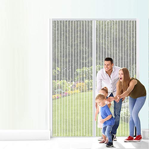 Magnetic Curtain Door for Sliding Glass Door, Easy to Install Without Drilling Close Voluntaryally Keep Bugs out, Fresh Air in Toddler & Pet Friendly, Black 110x200cm