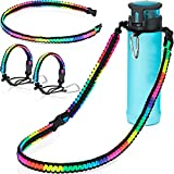 4 Pieces Rainbow Paracord Handles Set Carrier Holder with Shoulder Strap and Keychain Buckle Paracord Strap Carrier for Wide Mouth Water Bottle Replacement Walking Hiking Camping