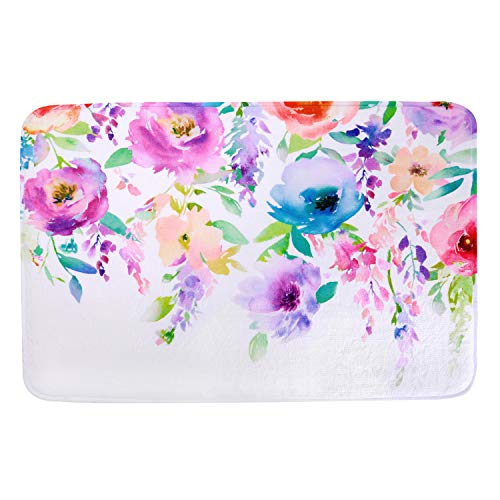 LIVILAN Watercolor Floral Door Bath Mat, Soft Memory Foam Non Slip Bath Rug, Shaggy Bathroom Floor Carpet Machine Washable, 16' x 24'