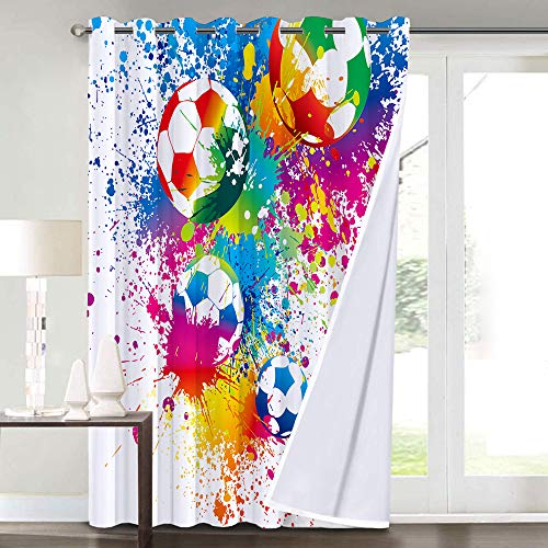 Cortinas Opacas,Colored Splashes all Over Soccer Balls Score World Cup Championship Athletic Artful,Sala,Dormitorio,Cortina,Vida Familiar,Decoracion
