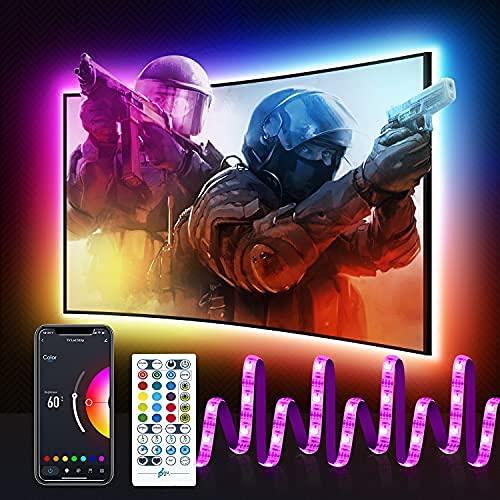 WiFi USB 2M Tira Led TV, Maxcio Led Rgb Wifi Control de Voz y App Compatible con Echo/Dot/Tap y Google Home, 5050 Luces Led Decorativas para TV con Multicolor, Modo de Escena, Brillo Ajustable