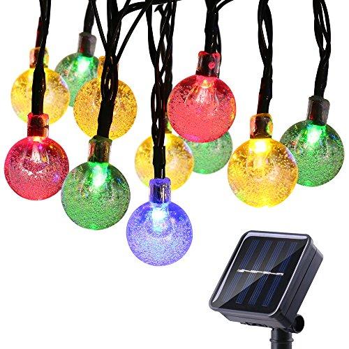 lederTEK Solar Powered Waterproof Fairy String Lights 20ft 30 LED 2 Modes Crystal Globe Christmas Decorative Lamp for Outdoor, Garden, Home, Wedding, Xmas New Year Party (30 LED Multicolor)