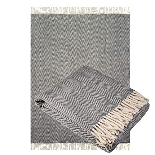 Jaroslav Merino Wool Blanket Throw 100% Organic Sheep Lightweight with Fringes Soft Accent Home Bed Spread • 71 x 51 Inches