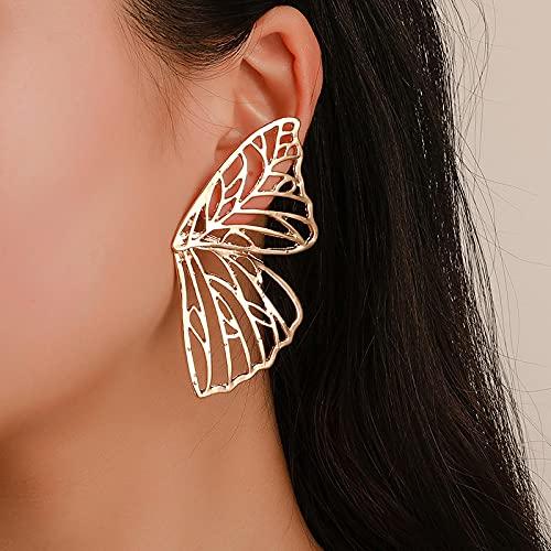 YANXIA Pendientes de Mariposa Huecos Pendientes de Fiesta Simples Pendientes Decorativos Elegantes para Mujer Pendientes de Aro para Mujer