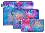 Reißverschlusstaschen für Reiseutensilien – Koffer Organizer Taschen Set 3-teilig - Kulturtasche Kosmetiktasche für Damen und Mädchen – Kleine Makeup Schminktasche (Mandala)