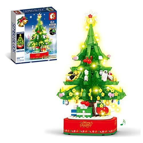 BOXX Weihnachtsbaum mit LED Beleuchtungsset, 486 Teile Technik Weihnachten 2020 Bausteine Modell Kompatibel mit Lego Technic