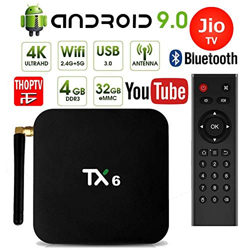 PHANTIO TX6 Android 9.0 Smart TV Box : JIO TV Hotstar DualBand WiFi Bluetooth Quad-Core 3D 4K Ultra HD, H.265 Decoding, USB3.0 Airtel TV Netflix YouTube and More (4GB / 32GB)