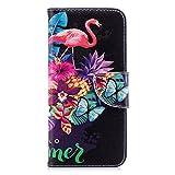VQWQ Custodia per Huawei Honor 10 - Motivo Dipinto Paint Portafoglio Custodia in PU Pelle Caso Libro Antiurto Magnetica Flip Cover per Huawei Honor 10 [Panda] -Fenicottero