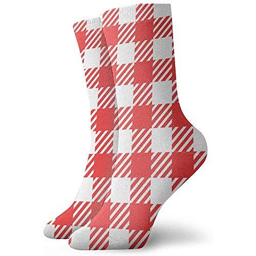 Kevin-Shop Rode Picknick Tafelkleed Plaid Gingham Abstract Sokken Vrouwen En Mannen Sokken Voetbal Sok