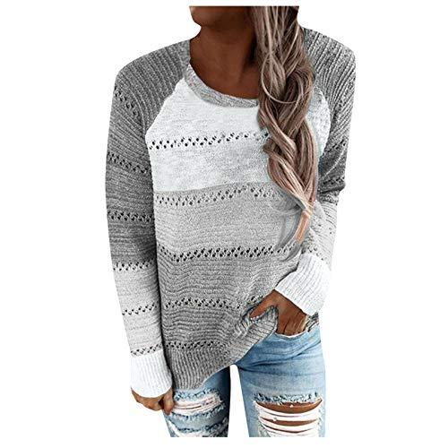 HWTOP Damen Sweatshirts Aushöhlen Kontrast Streifen Stricken Pullover mit Mode Lange Ärmel und Winter Kapuzenpullover mit Hut Streetwear Tops Blose Freizeit Große Größe