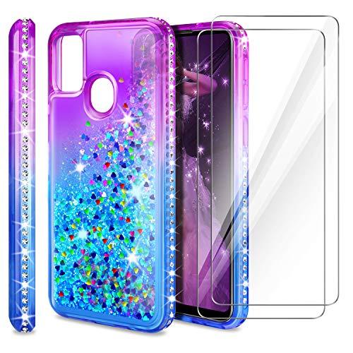 AROYI Funda Compatible con Samsung Galaxy A21S, 2 Pack Protector de Pantalla en Cristal Templado, Purpurina Carcasa Silicona Protector TPU Capa Anti-arañazos Caso, Púrpura Azul