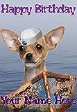 Tarjeta de felicitación de cumpleaños de tamaño A5 con diseño de perro chihuahua hs106, diseño de Hello Sailor, personalizable