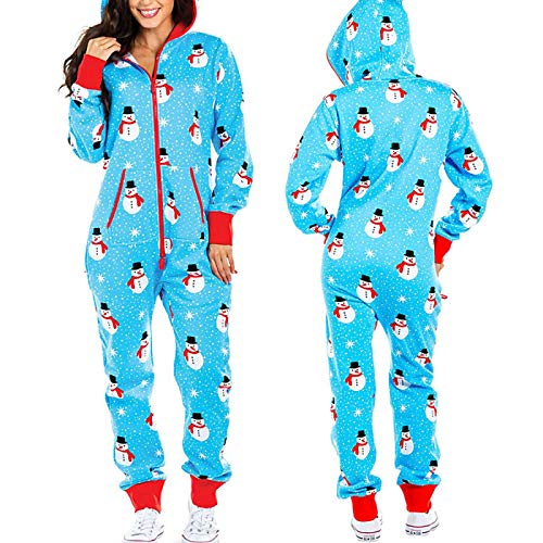 LEYUANA Pijamas con Capucha de Manga Larga para Mujer, Onesies Pijamas de Unicornio de Navidad para Adultos Pijamas de Animales de una Pieza XL Muñeco de Nieve