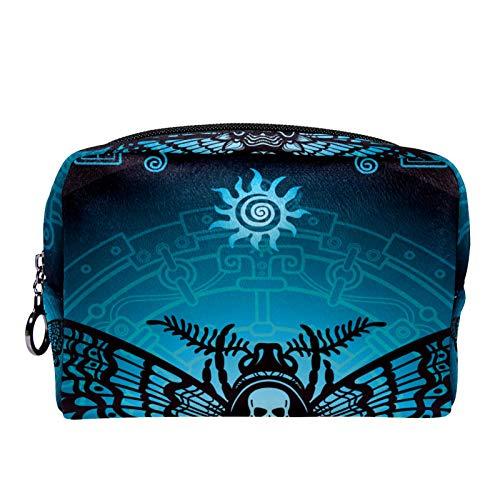 Bolsa de cosméticos Bolsa de Maquillaje para Mujer para Viajar para Llevar cosméticos, Cambio, Llaves, etc. Skull Butterfly