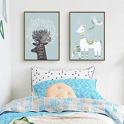 Pintura en lienzo Imágenes de dibujos animados Animales encantadores Impresión Patrón abstracto Cartel de conejo de alpaca para decoración de habitación de niños Arte de la pared-50x70cmx2 Sin marco