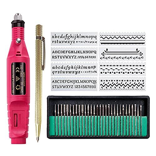 Afantti Elektrische Gravurstift Gravieren Gravur Gravier Stift Werkzeug Set Graviergerät Gravierstift Gravierer für Glas Metall