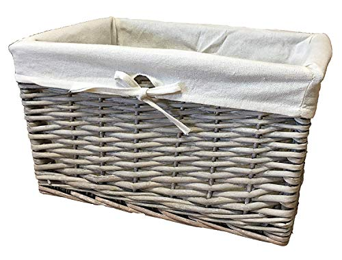 Gran variedad de cestas de mimbre. Forro lavable. Soluciones de almacenamiento. ratán y mimbre, Gris, 32 ltr