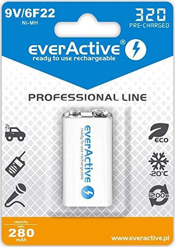 everActive Akku 9V 320 mAh, NI-MH, Block, wiederaufladbar, vorgeladen, höchster Leistung, Professional Line 6F22 HR22 8.4V, 1 Stück - 1 Blisterkarte EVHRL22-320 Weiss