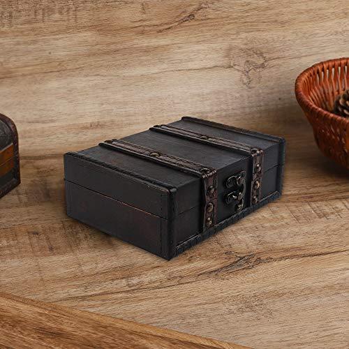 Caja de Almacenamiento con Cierre Cajas de Almacenamiento Decorativas, Caja de Almacenamiento, Práctica Caja de Almacenamiento pequeña de Madera Collar para joyería(6273-01-do Old Gray)