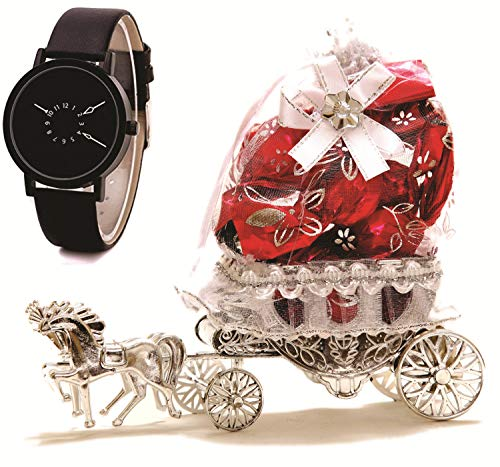 Skylofts Beautiful 10pc Horse Chocolate Decoration Piece Gift with Stylish Centre Rotating Analog Mens Watch