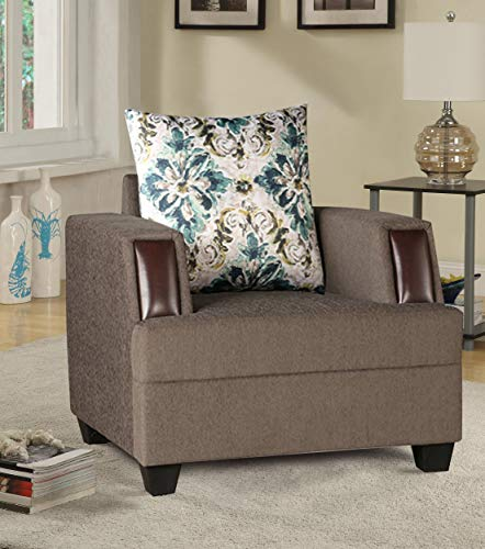 HomeTown Elanza Fabric Single Seater Sofa in Olive Colour