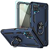 Galaxy A12 Case, Samsung A12 Case, with HD Screen Protector, YZOK [Military Grade] Ring Car Mount Kickstand Hybrid Hard PC Soft TPU Shockproof Protective Case for Samsung Galaxy A12 (Blue)