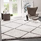 VIMODA Shaggy Teppich Rauten Design Creme Grau Modern, Maße:120x170 cm