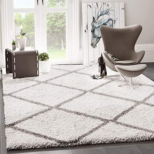 VIMODA Hochflor Shaggy Teppich Rauten Muster Design Wohnzimmer Creme Grau Modern, Maße:Ø 120 cm Rund