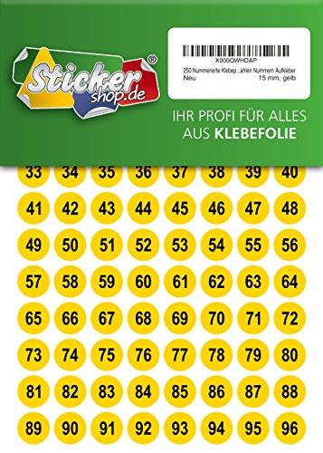 250 nummerierte Klebepunkte, 15 mm, gelb, aus PVC Folie, wetterfest, Markierungspunkte Kreise Punkte Zahlen Nummern Aufkleber