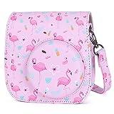 Phetium Cámara Funda Compatible con Instax Mini 9 / Mini 8 8+ Cámara Instantánea, Bolsa de Transporte Fabricada en Cuero, Dispone de Una Correa de Proteger y Bolsillo (Rosa Flamingo)