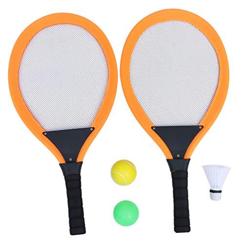 Toyvian Conjunto de tênis infantil de 2 peças, raquete de tênis, raquete de badminton, brinquedos esportivos infantis com bolas para crianças, festa de aniversário, presentes ao ar livre (cor aleatória)