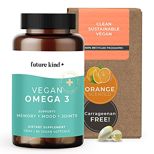 Future Kind - Vegan Omega 3 for Brain, Joint, and Eye Health, with 500mg Algal Oil, Plant-Based Omega 3 EPA and DHA, 60 Orange-Scented Softgel Capsules, 2-Month Supply
