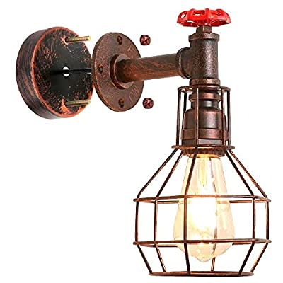 Industrial Wall Sconce, Water Pipe Light Fixture,Steampunk Light Fixture,Steampunk Sconce E26 Edison for Industrial Lamp,Farmhouse,Bedroom Decor