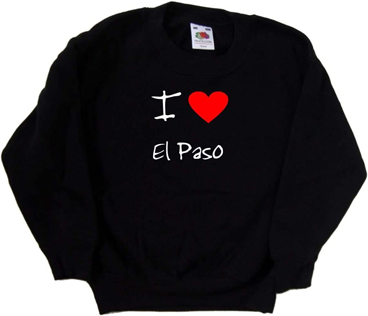A surprise price is realized I Love Heart All items free shipping El Sweatshirt Kids Paso Black