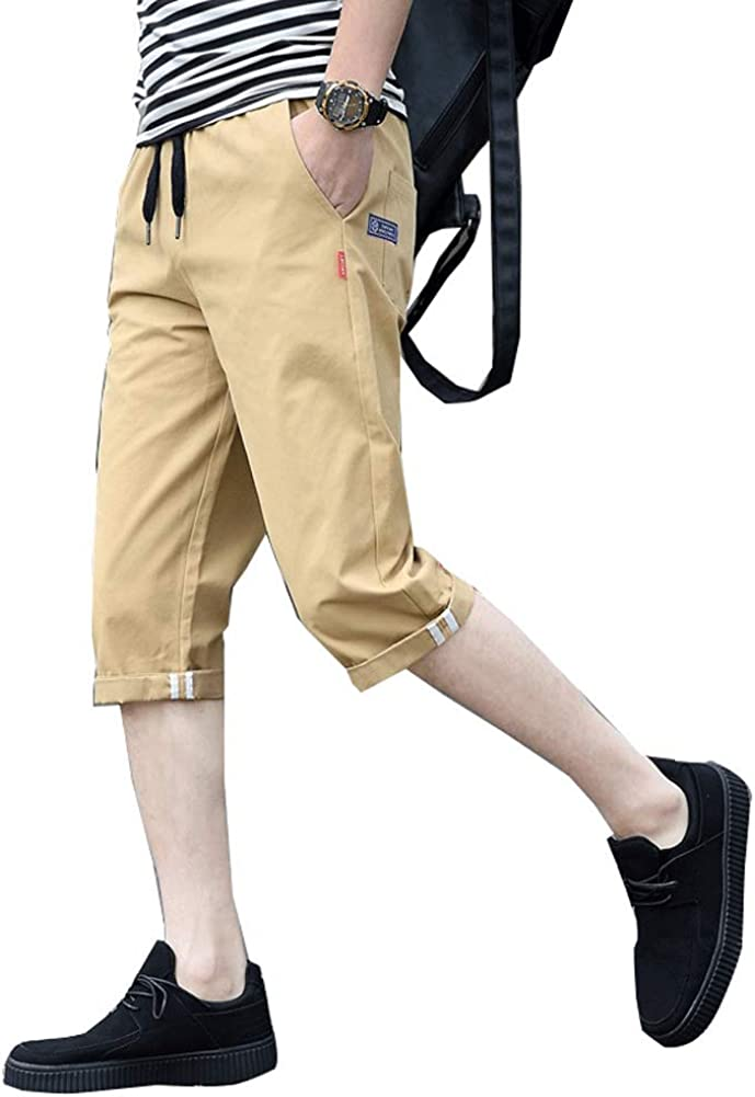 Astellarie Mens Casual Straight Fit Lightweight Elastic Waist Cargo Shorts with Drawstring