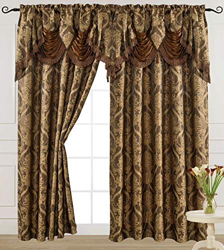 V Luxury Jacquard Curtain Panel with Attached Waterfall Valance, 54 by 84-Inch Ashley Light Brown